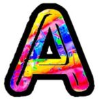 Letter A with black border and bright colors
