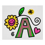 Letter A with smiling flower