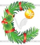 Letter C Christmas wreath