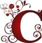 Letter C red with scroll (very pretty)