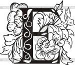 Letter E black and white
