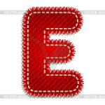 Letter E red with white stitching