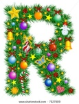 Letter R like Christmas tree