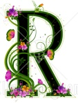 Letter R with flowers (matches other letters)