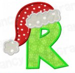 Letter R with santa cap