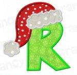 Letter R with santa cap