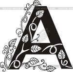 Letter A black and white with scroll and flowers