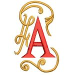 Letter A in embroidery