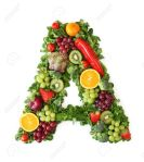 Letter A with fruit