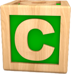Letter C as child's building block (best)