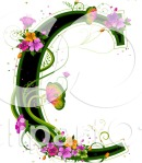 Letter C black with pink and green and matches other letters