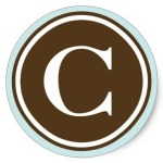 Letter C with chocolate color background