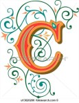 Letter C with green and orange scroll