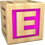 Letter E as child's block with pink