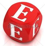 Letter E as red and white cube