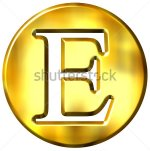 Letter E gold color in a big circle