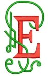 Letter E in red and green embroidery