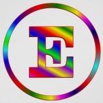 Letter E multicolor in a circle