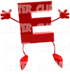 Letter E red with arms and legs