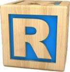 Letter R as child's wood block