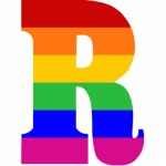 Letter R rainbow colors