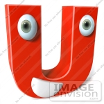 Letter U red with eyes and mouth