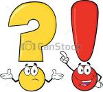 Question mark and exclamation marks with faces