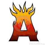 Letter A burning hot