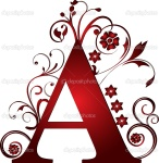 Letter A red with scrolls