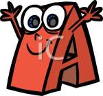 Letter A with eyes and arms