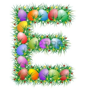 Letter E with Easter eggs (2)
