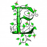 Letter E with green leaves