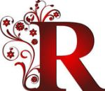 Letter R red scroll
