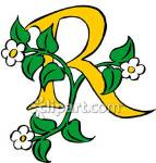 Letter R with flowers and leaves