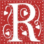 Letter R with scroll and hearts