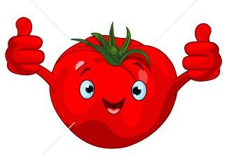 Tomato with two thumbs up