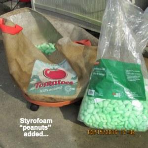 "Styrofoam ""peanuts"" in the bottom"