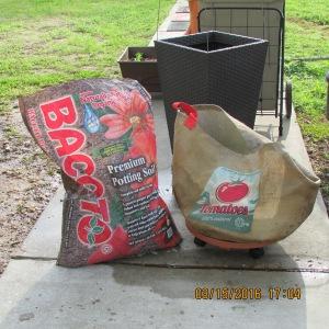 Adding soil to tomato planter