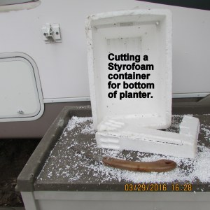 Cut up Styrofoam container