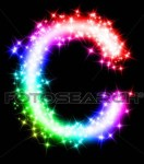 Letter C with black background and sparkling colors