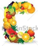 Letter C with fruit