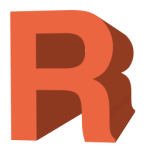 Letter R big and bold rust color