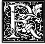 Letter R black and white scroll