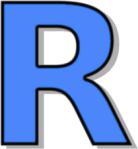 Letter R bold blue