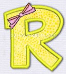 Letter R in yellow