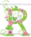 Alphabet letter R green with pink roses