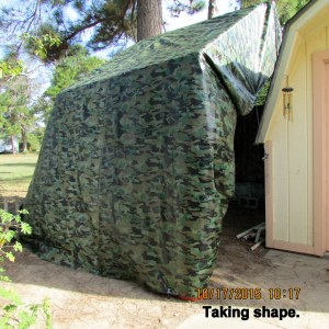 Tarp covered storage area