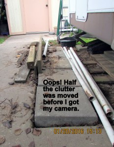 Pipe and lumber clutter