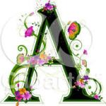 Letter A with flowers