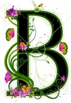 Letter B with pink flowers